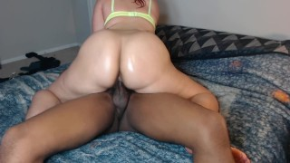 Red head bounces her perfect ass on neighbors cock & make's him cum fast!