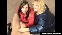 Charlee Chase & Kelsie Cummings Jerk Cock In Puffy Jackets!