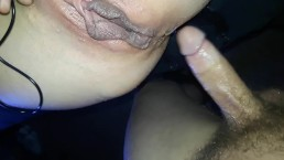 skinny wife playing with her tits while getting ass fucked till she squirts