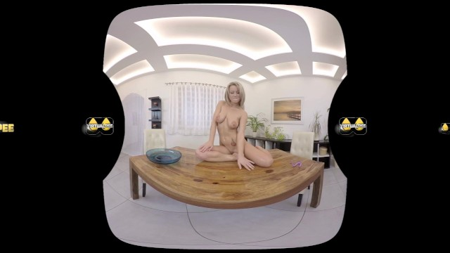 Pee pants porn - Licky lex licks her pee off the table in virtual reality porn video