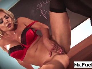 Classroom sexy solo with Mia Lelani and her big tits