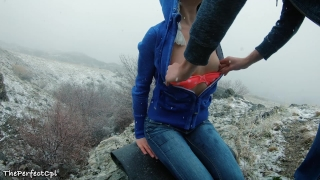 Lost hikers have rough anal sex to stay warm in snow - 2 orgasms 1 cumshot Doggystyle hood