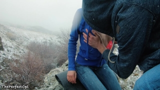 Lost hikers have rough anal sex to stay warm in snow - 2 orgasms 1 cumshot Real oral