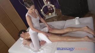 Massage Rooms Oiled masseuse gives a cock massage with her tight body porno