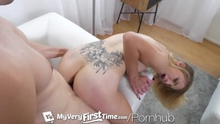 MyVeryFirstTime Very first porn for tiny blonde Macy Meadows Blow cougar