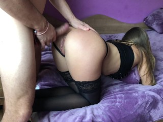 Preview 2 of Amateur girl gets brutally anal doggy fuck and gaping asshole.HD