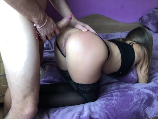 Preview 3 of Amateur girl gets brutally anal doggy fuck and gaping asshole.HD