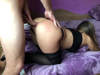 Preview 4 of Amateur girl gets brutally anal doggy fuck and gaping asshole.HD