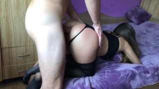 Amateur girl gets brutally anal doggy fuck and gaping asshole.HD 3some on