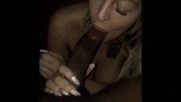 White Girl sucking on a BBC