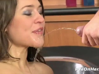 Peeonher - Golden Pussy Wash - Peeing While Fucking