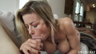 Milf cums hard and gets huge creampie Licking cumshot