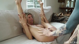 Milf cums hard and gets huge creampie Licking mouth