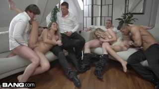 Glamkore Vinna & Nikky take on five guys for a group fuck