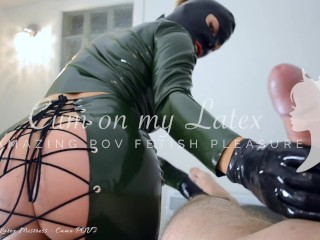HOT Latex Mistress POV Preview of laced skirt fuck and cum on mask