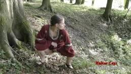 Pissing in the woods with the hairy Viking cunt Nadine Cays - Medieval