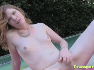 solo amateur trans fingers ass while jerking