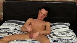 Solo Brit stud tugging his strong cock until a warm finish