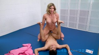Cory Chase in Step Mom wrestle Fucks her Step-Son Soldier outside