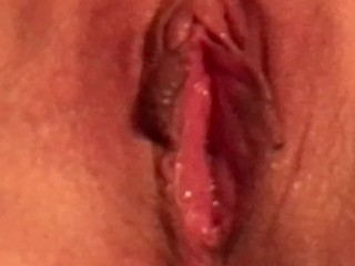 Playing with my pussy getting it wet and creamy for that big cock.