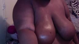 rubbing oil on my breast