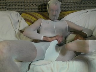 YOUNG GUY IN WHITE BODYSTOCKING AND PANTYHOSE MASK