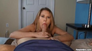 POV Busty Milf Punishes Young Couple Blowjob crossdresser