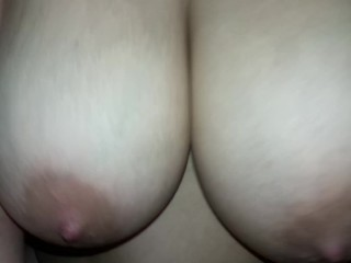 Giant tits riding cock in your face pov