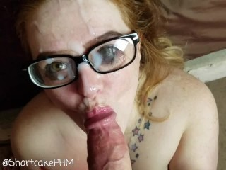 Glasses Cumshot After Hard Face Fuck Shortcake