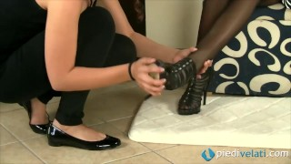 Lesbians in a shoe store Nylon chinese