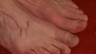 Handsome and stud playing feet jerking off with his slowly amateur caucasian