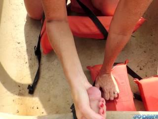 Step Mom Jodi Wests Outdoor Canoe HandJob!