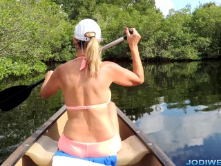 Step Mom Jodi Wests Outdoor Canoe HandJob!