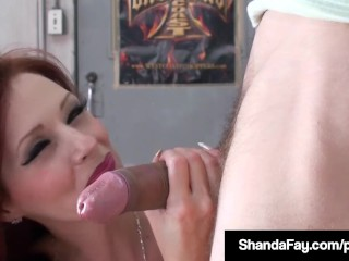 pornstar. handjob, blowjob culminated with cumshot. middle aged hot red head with big boobs.  @stickydollars