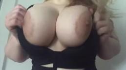 Curvy blonde in black lingerie striptease