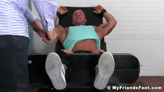 Older perv tormenting tattooed hunk by tickling him all over body Techniques learn