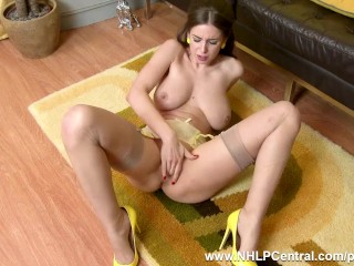 Natural big tits brunette Stella Cox finger fucks in sheer nylons and heels