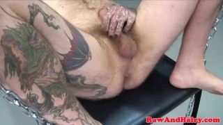 Mature inked biker bear barebacked in trio Sucking big