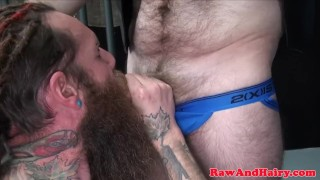 Mature barebacked inked in trio bear biker trio bear