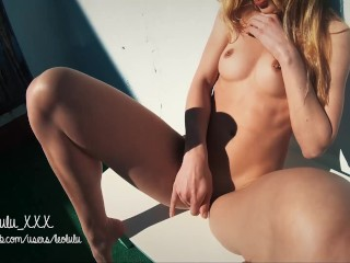 Holiday Blowjob: Deepthroat on the Terrace + squirt - Amateur LeoLulu