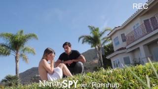 NannySpy Babysitter Kristen Scott caught by pool masturbating porno