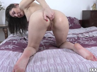 Inexperienced brunette with dildo in ass