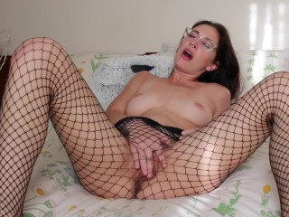 fishnets and glasses