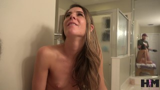 Hussie Auditions: Petite Brunette Milf does anal for her very first time! Big orgasm