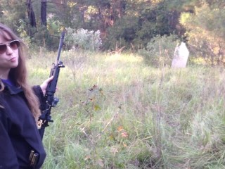 Cute Girl Chloe Shooting Guns in the Woods Video - PM400 MP15 FNS and XDm 9