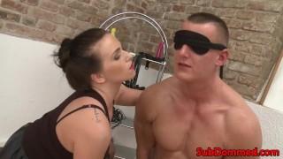 Toying restrains bdsm sub for femdom anal handjob smoking