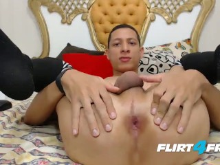 Adan Sexy on Flirt4Free - Toned Twink in Stockings Has Fun with Dick & Ass