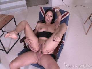 Young Anal Tryouts - Brunette waits for her deep anal orgasm