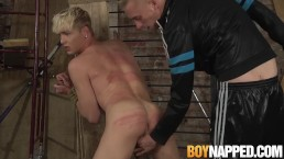 Submissive blond penetrated roughly by long hard cock