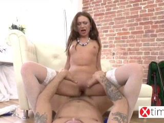 Extreme Anal fuck for a sexy Russian small girl . Big cock Italian man